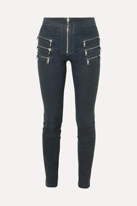 Unravel Project Zip-detailed Leather Skinny Pants - Navy