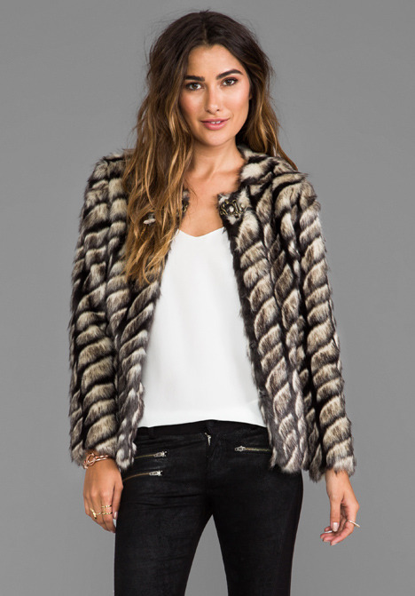 Twelfth Street By Cynthia Vincent Shadows and Light Faux Fur Jacket