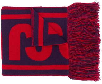 Just Cavalli fringed intarsia scarf