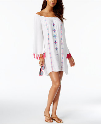 Raviya Embroidered Tasseled Off-The-Shoulder Cover-Up Women's Swimsuit $48 thestylecure.com