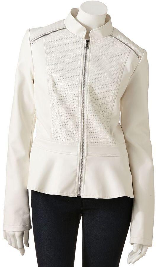 Giacca faux-leather peplum jacket