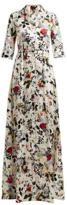 Erdem Karissa Floral Print Silk Satin Gown - Womens - White Multi