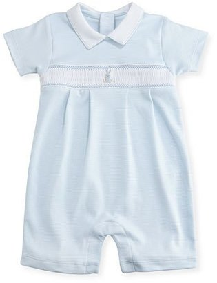 Kissy Kissy Scattered Cottontails Striped Pima Shortall, Blue, Size 3-18 Months $58 thestylecure.com