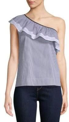 Saks Fifth Avenue BLACK Cotton-Blend Striped One Shoulder Top