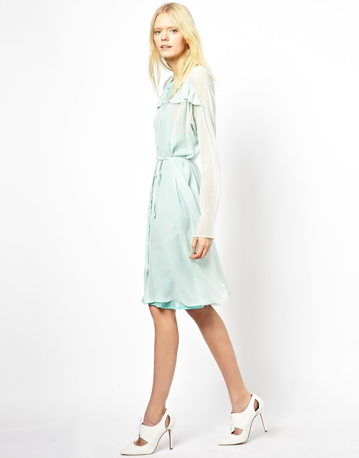 See by Chloe Silk Long Sleeved Shirt Dress with Ruffle Front