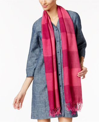 Eileen Fisher Organic Linen-Cotton Striped Fringe Scarf $118 thestylecure.com
