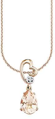 Amor Women's Necklace with Heart Pendant 925 Silver partially gold-plated with White Crystal – 496704