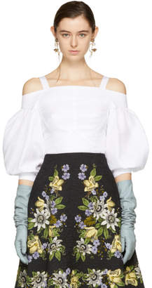 Erdem White Varina Off-the-Shoulder Blouse