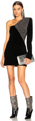 Saint Laurent Embellished Velvet Cupro Compact One Shoulder Dress