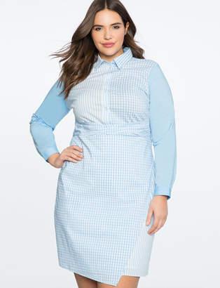 Mix Print Wrap Front Shirt Dress