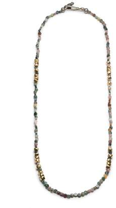 George Frost Morse Code Gold & Jasper Necklace - Luck