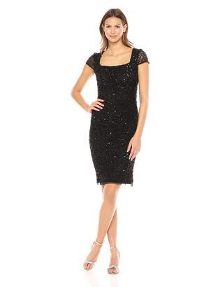 Adrianna Papell Women's Plus Size Short Sleeve Side Draping Beaded Cocktail Dress