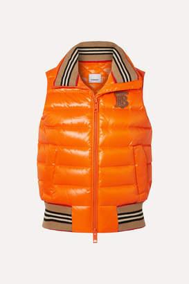 Burberry Appliquéd Quilted Shell Down Vest - Orange