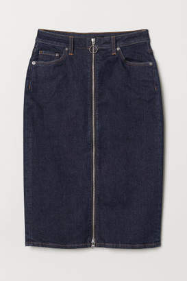 H&M Denim Skirt with Zip - Blue