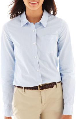 ARIZONA Arizona Long-Sleeve Button-Front Uniform Shirt $12.99 thestylecure.com