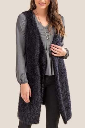 francesca's Harriet Cozy Draped Vest - Black