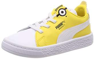 Puma Kids' Minions Basket BS AC Inf Low-Top Sneakers, White Black-Dandelion