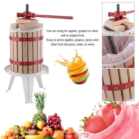 Wellspares 1.6 Gallon Fruit Wine Press Machine Durable Apple Grape Crusher Heavy-Duty Juice Maker Tool With Ratchet Handle