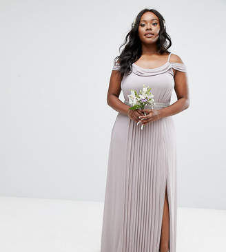 TFNC Plus Wedding Cold Shoulder Embellished Maxi Dress
