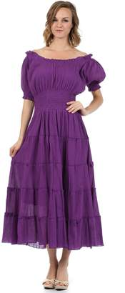 Sakkas 3702 Cotton Crepe Peasant Boho Renaissance Dress - /