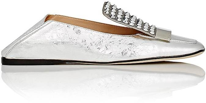 Sergio Rossi Women's Crystal-Embellished Laminated Leather Loafers