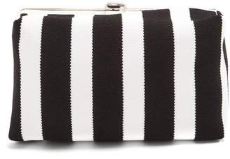 Proenza Schouler Asymmetric Frame Striped Clutch - Womens - Black White