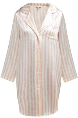 Morgan Lane - Jillian Striped Silk Charmeuse Nightshirt - Womens - Pink Stripe