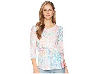 FDJ French Dressing Jeans Tropical Print V-Neck Top Women's Clothing