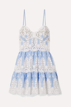 Miguelina Sara Crochet-trimmed Linen Mini Dress - Light blue