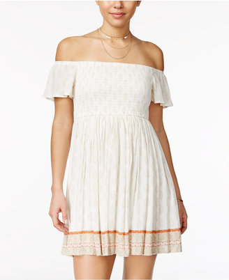 American Rag Printed Smocked Off-The-Shoulder Dress, Only at Macy's $69.50 thestylecure.com