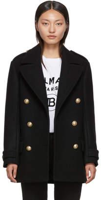 Balmain Black Wool Short 6-Button Coat