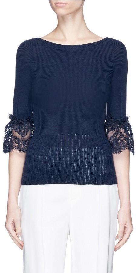 Oscar de la Renta Flared lace cuff Merino wool top