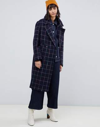 Asos DESIGN rainbow check coat