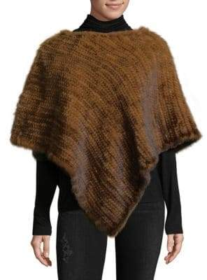 La Fiorentina Asymmetrical Knitted Mink Fur Poncho