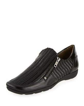 Sesto Meucci Ganice Woven Zip-Up Sneaker, Black $295 thestylecure.com