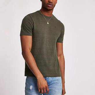 River Island Khaki slim fit textured T-shirt