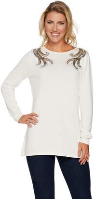 Bob Mackie Bob Mackie's Boat Neck Pullover with Sequin Shoulder Detail