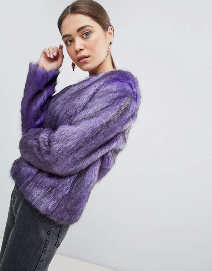 Unreal Fur Dream Faux Fur Collarless Jacket in Purple