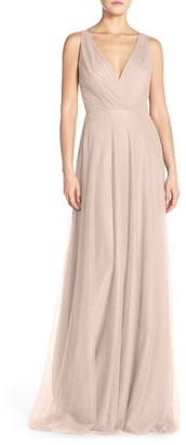 Women's Monique Lhuillier Bridesmaids Back Cutout Pleat Tulle Gown $298 thestylecure.com