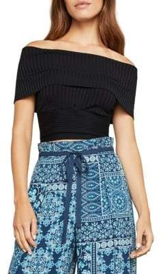BCBGMAXAZRIA Off-the-Shoulder Cropped Top