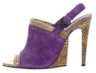 Bottega Veneta Snakeskin-Trimmed Slingback Sandals