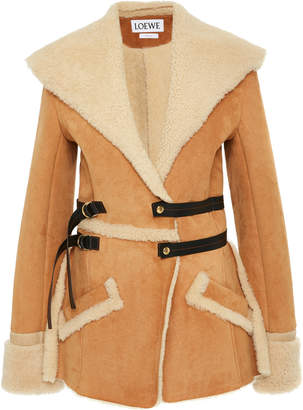 Loewe Belted Suede and Shearling Jacket