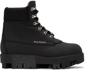 Acne Studios Black Telde Hiking Boots $650 thestylecure.com