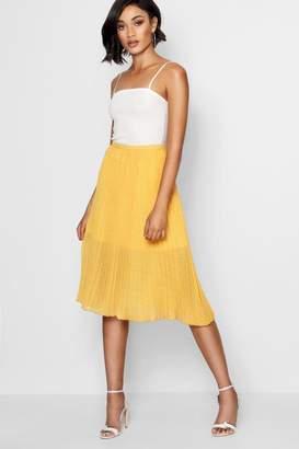 boohoo Woven Polka Dot Pleated Midi Skirt