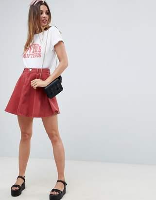 Asos DESIGN denim circle skirt in rust