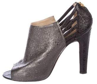 Chanel Metallic Peep-Toe Booties