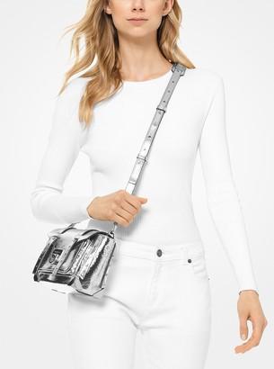 266afd2c56990a MICHAEL Michael Kors Manhattan Small Crackled Metallic Leather Crossbody Bag