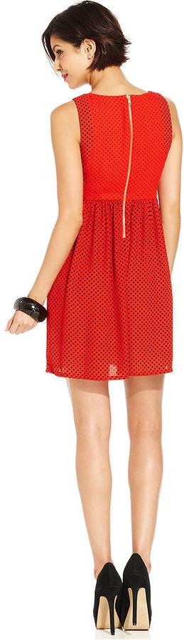 Monroe Marilyn Juniors Dress, Sleeveless Empire-Waist Polka-Dot-Print