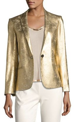 Zadig & Voltaire Vedy Deluxe Gold-Colored Fitted Blazer $598 thestylecure.com