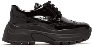 Prada Oversized Brogue Leather Trainers - Womens - Black